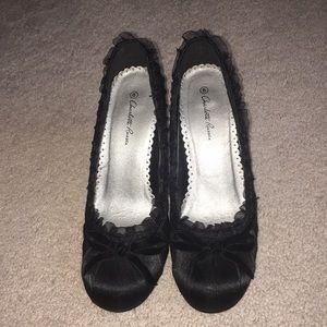 Black satin spiked heels